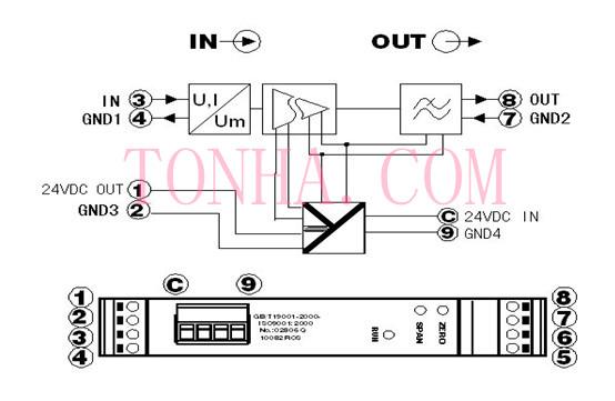 th34带隔离馈电输出的直流信号隔离变换器/变送器